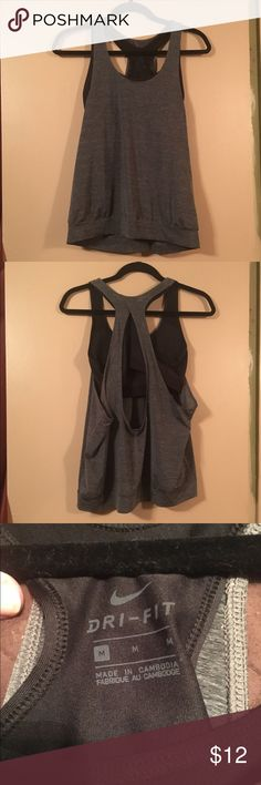 Nike Gym Tank Nike Dri Fit tank with built in sports bra. Dark grey and black. Size M. Excellent condition Nike Tops Tank Tops