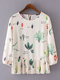 SheIn offers Beige Printed Elastic Cuff Broomstick Blouse & more to fit your fashionable needs. Look Fashion, Autumn Fashion, Womens Fashion, Fashion 2016, New Mode, Estilo Lolita, Casual Outfits, Cute Outfits, Tee T Shirt