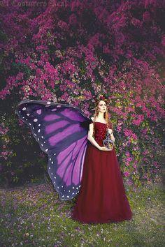 Long Purple Butterfly Fairy cape cloak isis wings costume adult dance bridal fairy