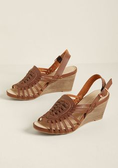 Each intricate braid of these faux-leather sandals projects a message of stylish intention! Gold-buckled slingbacks, woven uppers, and strappy sides in. Brown Wedge Sandals, Wedge Shoes, Shoes Heels, Brown Wedges, Buy Shoes, Black Wedges Outfit, Studded Heels, Fashion Heels, Women's Fashion
