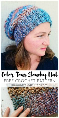 Color Tour Slouchy Hat | Free Crochet Pattern using Lion Brand Homespun Yarn | The Unraveled Mitten