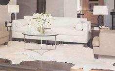light colored cowhide for formal living room