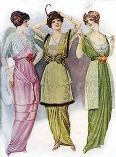 Fashionably hobbled skirts, which narrowed at the hem, were inspired by the costumes of Asia, from 1912 to 1914. From The Fashion Book Illustrating Pictorial Review Patterns, winter 1914.