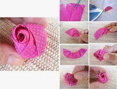 ARTE COM QUIANE - Paps,Moldes,E.V.A,Feltro,Costuras,Fofuchas 3D: Molde e pap Botão de rosa de tecido