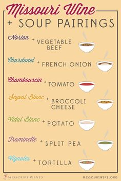 Soup and Missouri Wine Pairings | Warm up this winter with a comforting bowl of soup and a delicious glass of wine!