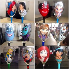Hey, I found this really awesome Etsy listing at https://www.etsy.com/listing/176977531/two-hand-pianted-disney-wine-glasses