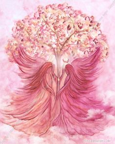 Pink Angels around a pink tree prophetic art painting.