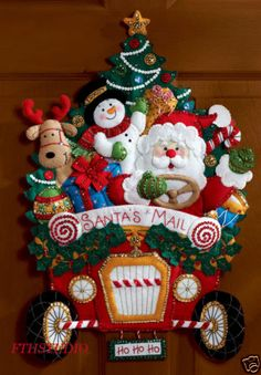 The Bucilla Christmas Mail Truck Wall Hanging Kit is from Bucilla's Seasonal Home Decor' line of products. This three dimensional, felt applique Mail Truck Wall Hanging Kit features Santa driving a mail truck with a snowman and reindeer tagging along. Christmas Mail, Christmas Sewing, Christmas Stockings, Christmas Wreaths, Christmas Crafts, Christmas Decorations, Christmas Ornaments, Plaid Christmas, Holiday Decorating