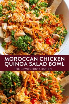 This healthy Moroccan Chicken Quinoa Salad is a nutritious bowl recipe that's perfect for spring and summer and so easy to throw together. Serve it cold or warm, and toss some feta on it for added fla Chicken Quinoa Salad, Chicken Chickpea, Chicken Salad Recipes, Kale Recipes, Healthy Recipes, Clean Eating Snacks, Healthy Eating, Moroccan Chicken, How To Cook Quinoa