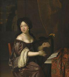 A Young Lady Playing the Harp. Jan Tilius or Jan van Tilius (Dutch,: