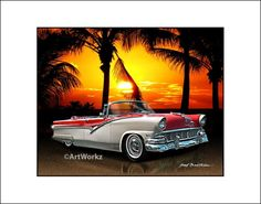 Classic Car Art  1956 Ford Fairlane Sunliner  Hot Rod by ArtWorkz, $20.00