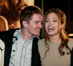 Angelina Jolie and Ethan Hawke kiss