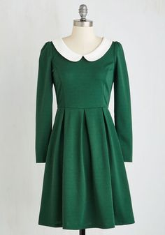 Late 1950s early 1960s style day dress  with longs leeves - Record Store Date Dress in Forest $64.99 AT vintagedancer.com