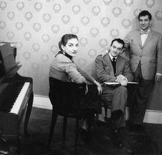 Maria Callas, Luchino Visconti and Leonard Bernstein during the rehearsals of La…