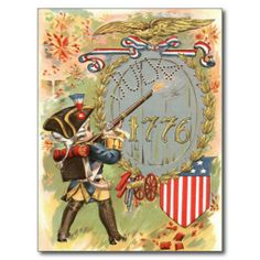 Boy US Flag Fireworks 4th of July Postcard