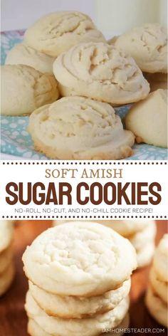 Amish Sugar Cookies, Soft Sugar Cookies, Crinkle Cookies, Keto Cookies, Sugar Cookies Recipe, Cookies Et Biscuits, Yummy Cookies, Sugar Cookie Recipe No Baking Powder, Sweets