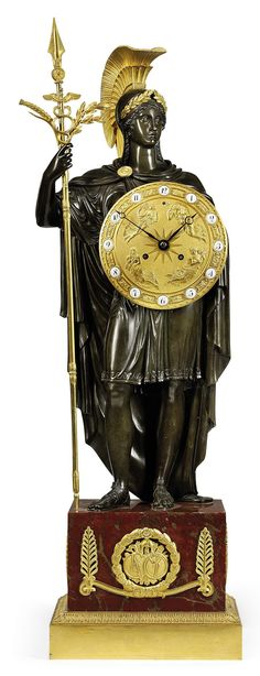 c1820 A RESTAURATION BRONZE, ORMOLU AND ROUGE GRIOTTE MARBLE STRIKING FIGURAL MANTEL CLOCK: 'STANDING ATHENA' LESIEUR AND PONS, AFTER THE MODEL BY GÉRARD-JEAN GALLÉ. CIRCA 1820 Price realised GBP 46,850 Mantel Clocks, Old Clocks, Antique Clocks, French Clock, Unusual Clocks, Bronze, Grandfather Clock, Art Sites, Telling Time