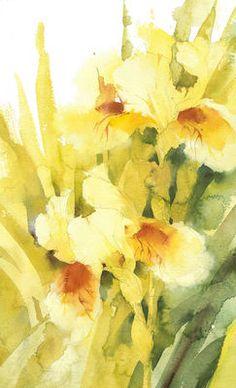 KO.96 cream iris Watercolor Artists, Watercolor Sketch, Watercolor Paintings, Floral Paintings, Watercolours, Iris Flowers, Flowers Nature, Watercolor Sunflower, Watercolor Flowers