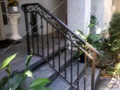 Porch And Step Rails in Wrought Iron Outdoor Railings For Steps Railings For Steps, Outside Stair Railing, Porch Step Railing, Porch Handrails, Exterior Stair Railing, Outdoor Stair Railing, Wrought Iron Stair Railing, Porch Stairs, Stair Railing Design