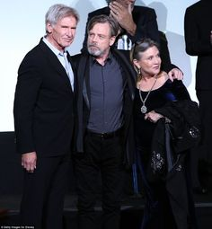 """Actors Harrison Ford Mark Hamill and Carrie Fisher attend the World Premiere of """"Star Wars The Force Awakens"""" at the Dolby El Capitan and TCL. Harrison Ford, Blade Runner, Mark Hamill Carrie Fisher, Indiana Jones, Star Wars Cast, Star Wars Personajes, Star Wars Love, Star Wars Images, Love Stars"""