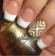 White and gold nail art design in french tips. The design simple looks amazing with the white nail polish as the french tip coupled with gold glitter in patterned designs.