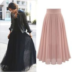 Chiffon Long Skirt Fashion Bohemian Beach Pleated Skirt 2 Colors S-Xl