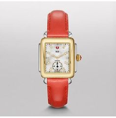 Deco 16 Two-Tone Watch with Diamond Dial on Bright Coral Orange Patent Strap MWW06V000045 | MICHELE® Ladies Watch