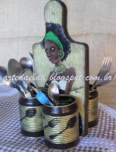 Tin Can Crafts, Wood Crafts, Diy And Crafts, Mosaic Projects, Projects To Try, Recycle Cans, Nails And Screws, Home And Deco, Diy Clay