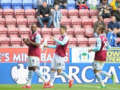 ~ Darren Bent of Aston Villa celebrating his goal against Wigan Athletic on the final day of the Barclays Premier League Season ~ Wigan Athletic, Barclays Premier, Barclay Premier League, Aston Villa, Goal, Soccer, Football, Seasons, Baseball Cards