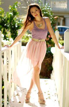 X Cute Summer Outfit: Cute Summer Fashion: Cute Summer Clothing. Chiffon Skirt, Dress Skirt, Nude Skirt, Tulip Skirt, Flowy Skirt, Mode Outfits, Fashion Outfits, Hi Low Skirts, Favim