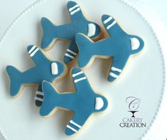Airplane Cookies by CakeryCreation on Etsy Sugar Cookie Frosting, Royal Icing Cookies, Sugar Cookies, Airplane Cookies, Oatmeal Fudge Bars, Acorn Cookies, Superhero Cookies, Airplane Party, Royal Icing Decorations