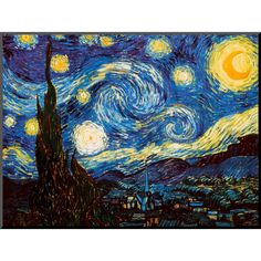 Art.com - Starry Night by Vincent Van Gogh c.1889 Mounted Print, Yellow Blue