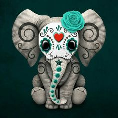Cute!  Day of the Dead baby elephant sugar skull art. Art de Dia de los Muertos.  Tattoo idea?