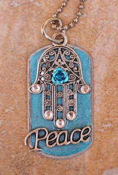 Dog Tag Necklace ....  Hamsa.. beautiful with by Foreverpeace, $24.00