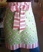 apron in an hour: I made one of these for a secret pal and appliqued a monogram toward the bottom. It can easily be sewn by a beginner.