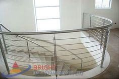 Stainless Steel Rod Balustrade:-Stainless steel double flat bar posts with pin & OD top rail with OD horizontal rod infills. Stainless Steel Balustrade, Stainless Steel Rod, Metal Working, Home Appliances, House Appliances, Metalworking, Stainless Steel Bar, Appliances, Stainless Steel Railing