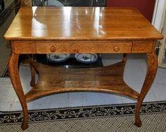 Vintage Beautiful Oak Library Table Desk 1 Drawer $250.00