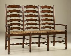 Umber Brown Ladderback Bench, Abaca Rope Rush Seat - how much do I love this