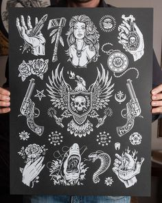 American Traditions is inspired by the traditional tattoo flash sheets found in tattoo shops across the country. This series is limited to 100 signed and numbered prints. This print measures inches. Unfortunately, I am unable to combine shipping wit Traditional Tattoo Flash Sheets, Traditional Tattoo Art, Traditional Flash, American Traditional, Vine Tattoos, Symbol Tattoos, Body Art Tattoos, Leg Tattoos, Tatoos