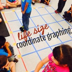 Life size coordinate plane using electric tape!