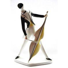 Kontrabasista Art Deco sygnowany Zsolnay projekt Török Janos Węgry design lata 60-te pikasiak unikalny 22 cm