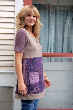 Etsy Transaction - Eco Tunic shirt, baby doll style,Upcycled Clothing, boho, hippie, shabby chic, rose print, plum mix , pocket applique , size M, by Zasra