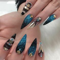 Fearless Combinations with Black Stiletto Nails ★ See more: https://naildesignsjournal.com/black-stiletto-nails-combinations/ #nails