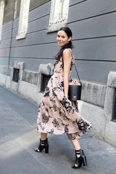 [These stomps have got to go on one of my boards somewhere (atypical for me to notice, but they are the photo)] irene closet blogger dress jacket floral maxi dress bucket bag spring dress peep toe heels black heels
