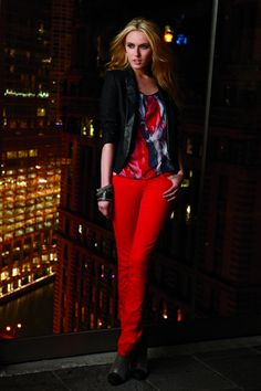 #DKNY Jeans Tuxedo Jacket and Red Skinny Jeans