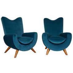 "1950s Jean Royère Pair of Velvet and Oak Ambassador Armchairs,. Part of the ""Ambassador"" lounge group created for the Shah of Iran, ca.1955"