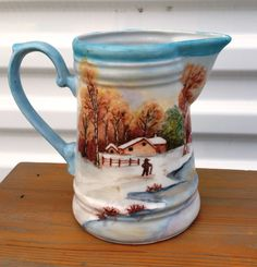 Vintage Kronester Bavaria West Germany Pitcher Porcelain Landscape Country Design Louise Clark Painter by OurSimpleTreasures on Etsy