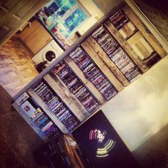 Home made DVD pallet shelves