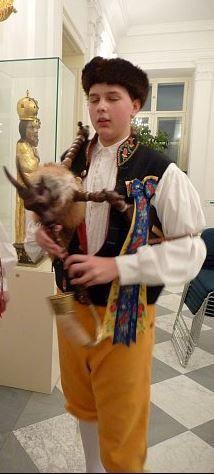 Piper in folk costume from South Bohemia, Czechia