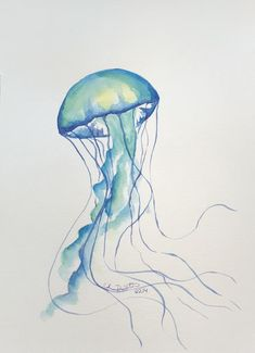 Spring is coming! Brighten up your home with this colorful jelly! Would work well in an frame matted to Jellyfish Drawing, Watercolor Jellyfish, Jellyfish Painting, Jellyfish Tattoo, Jellyfish Quotes, How To Draw Jellyfish, Jelly Fish Watercolor, Watercolor Illustration, Watercolor Paintings